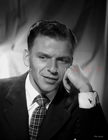 Frank Sinatra Leaning on Hand in Suit Premium Art Print
