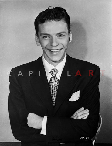 Frank Sinatra with Arms Crossed in Black Suit Premium Art Print