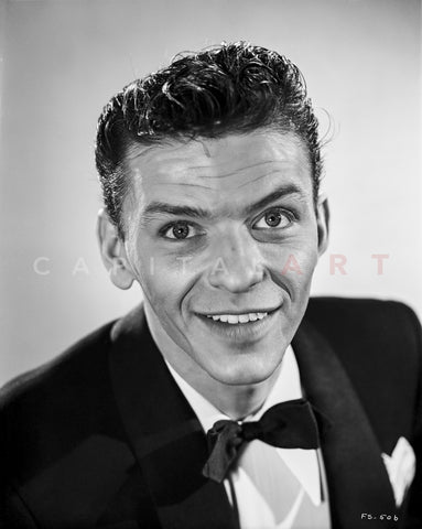 Frank Sinatra Looking Up, smiling in Black Suit Premium Art Print