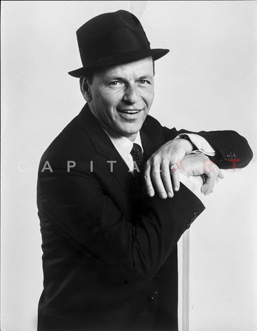 Frank Sinatra smiling in Suit and Hat Premium Art Print