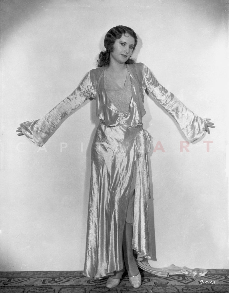 Barbara Stanwyck Posed in Glossy Robe Classic Portrait Premium Art Print