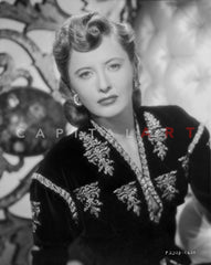 Barbara Stanwyck standing in Dress with Gloves and Heels Classic Portrait Premium Art Print