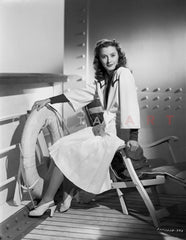 Barbara Stanwyck Leaning in Fence Classic Portrait Looking Sideways Premium Art Print