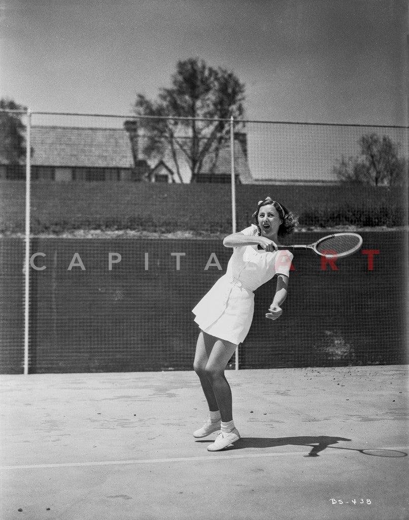 Barbara Stanwyck Playing Tennis in Classic Portrait Premium Art Print
