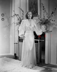 Barbara Stanwyck standing in White Long Dress Classic Portrait Premium Art Print