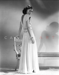Barbara Stanwyck Posed in Wedding Dress Classic Portrait Premium Art Print