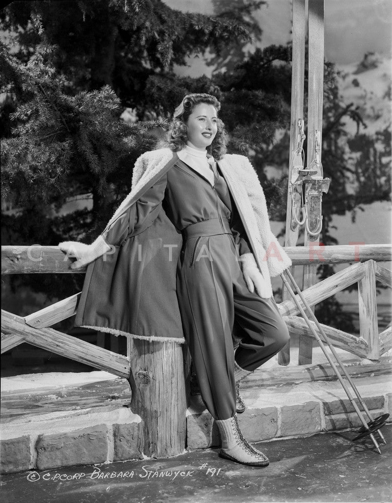 Barbara Stanwyck Leaning in The Fence Classic Portrait Premium Art Print
