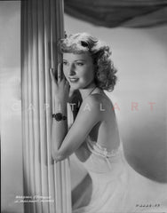 Barbara Stanwyck Side View in Wedding Dress Classic Portrait Premium Art Print