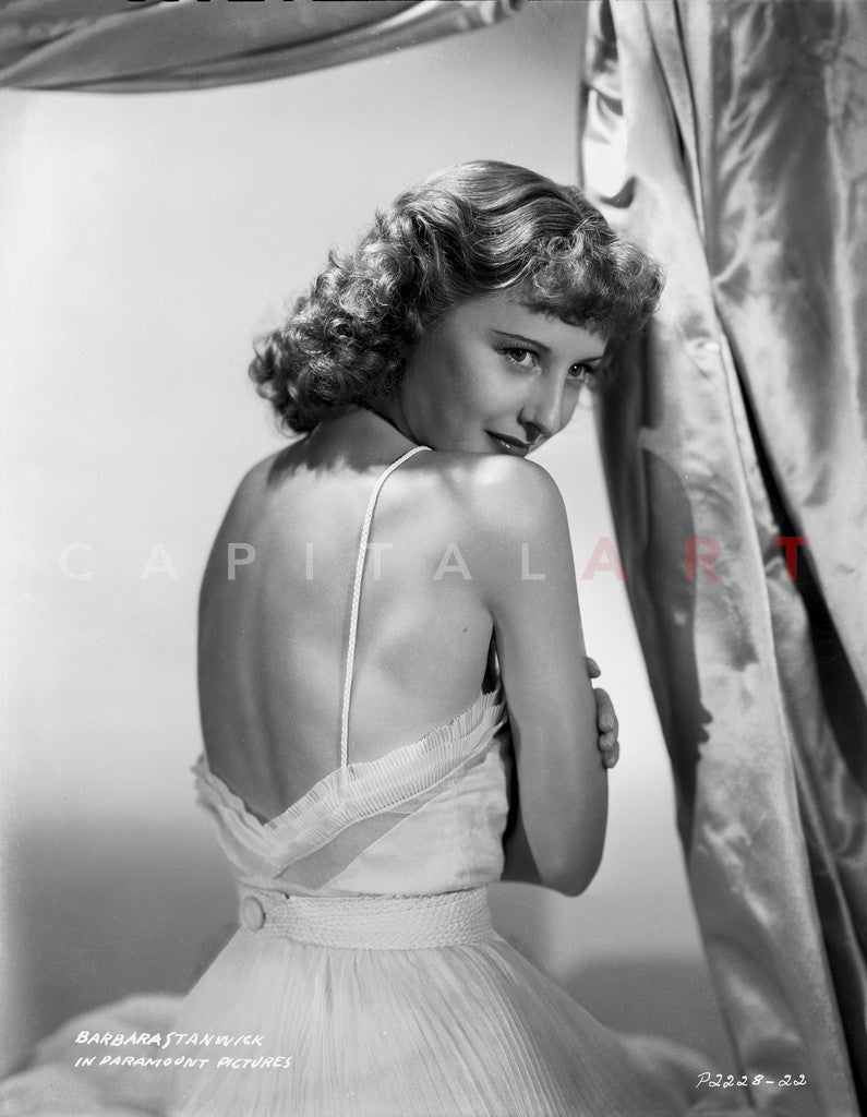 Barbara Stanwyck Showing Back in Backless Dress Classic Portrait Premium Art Print