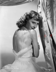 Barbara Stanwyck Classic Wedding Dress Portrait Premium Art Print