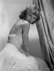 Barbara Stanwyck sitting in Bath Robe Classic Portrait Premium Art Print