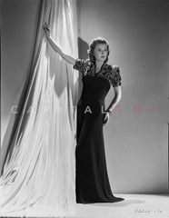 Barbara Stanwyck standing Pose in Dress Portrait Premium Art Print