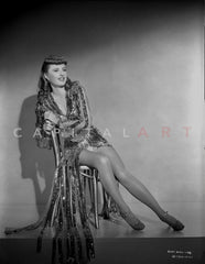 Barbara Stanwyck Leaning on Post wearing Fur Coat Classic Portrait Premium Art Print