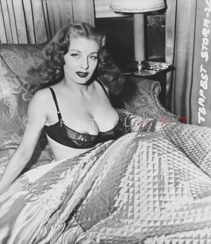 Tempest Storm In Bed Wearing Sexy Lingerie Premium Art
