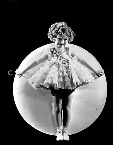 Shirley Temple Leaning on a Ball Premium Art Print