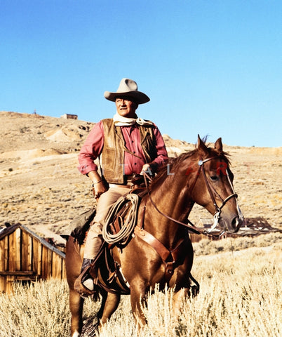 John Wayne on horse in mountains Premium Art Print
