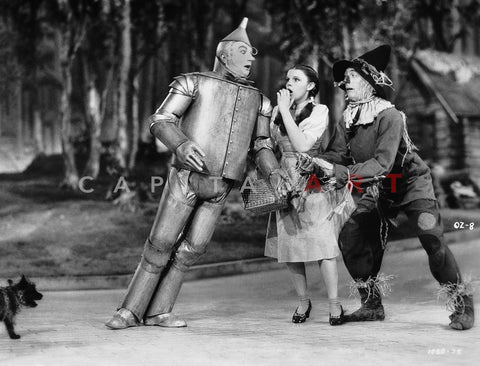 Wizard Of Oz Tin Man Leaning on Dorothy in Black and White Premium Art Print