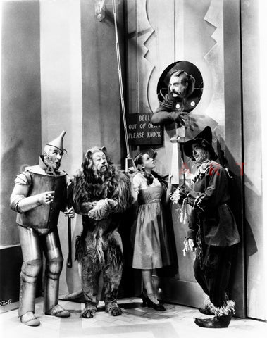 Wizard Of Oz Four People Listening at the Man Above Them in Black and White Premium Art Print