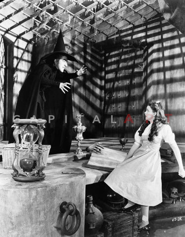 Wizard Of Oz Girl Looking Scared at the Witch in Black and White Premium Art Print