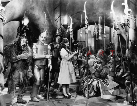 Wizard Of Oz Group Cast Talking in Movie Scene Premium Art Print