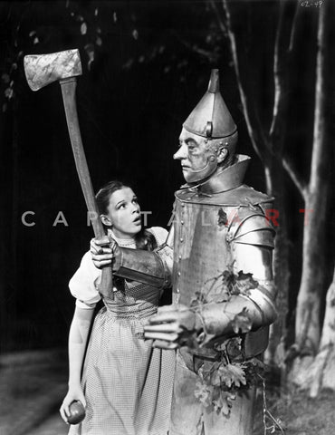 Wizard Of Oz Girl Dorothy Meeting the Tin Man Black and White Premium Art Print