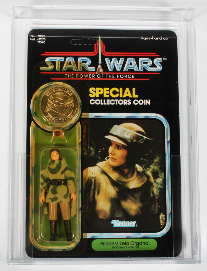 Star Wars vintage Kenner action figure MOC Leia Combat Poncho Power of the Force CAS 85+