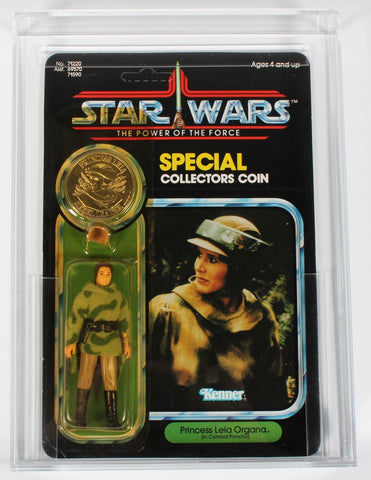 Star Wars vintage Kenner action figure MOC Leia Combat Poncho Power of the Force CAS 80+