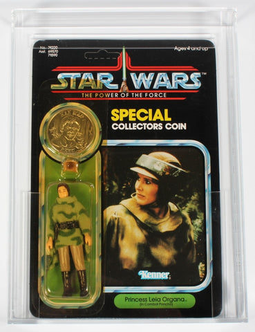 COIN ERROR Star Wars vintage Kenner action figure Leia Poncho with Han Trench Coat coin POTF - CAS 80+ Grade