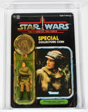 COIN ERROR Star Wars vintage Kenner action figure Leia Poncho with Han Trench Coat coin POTF - CAS 75+ Grade