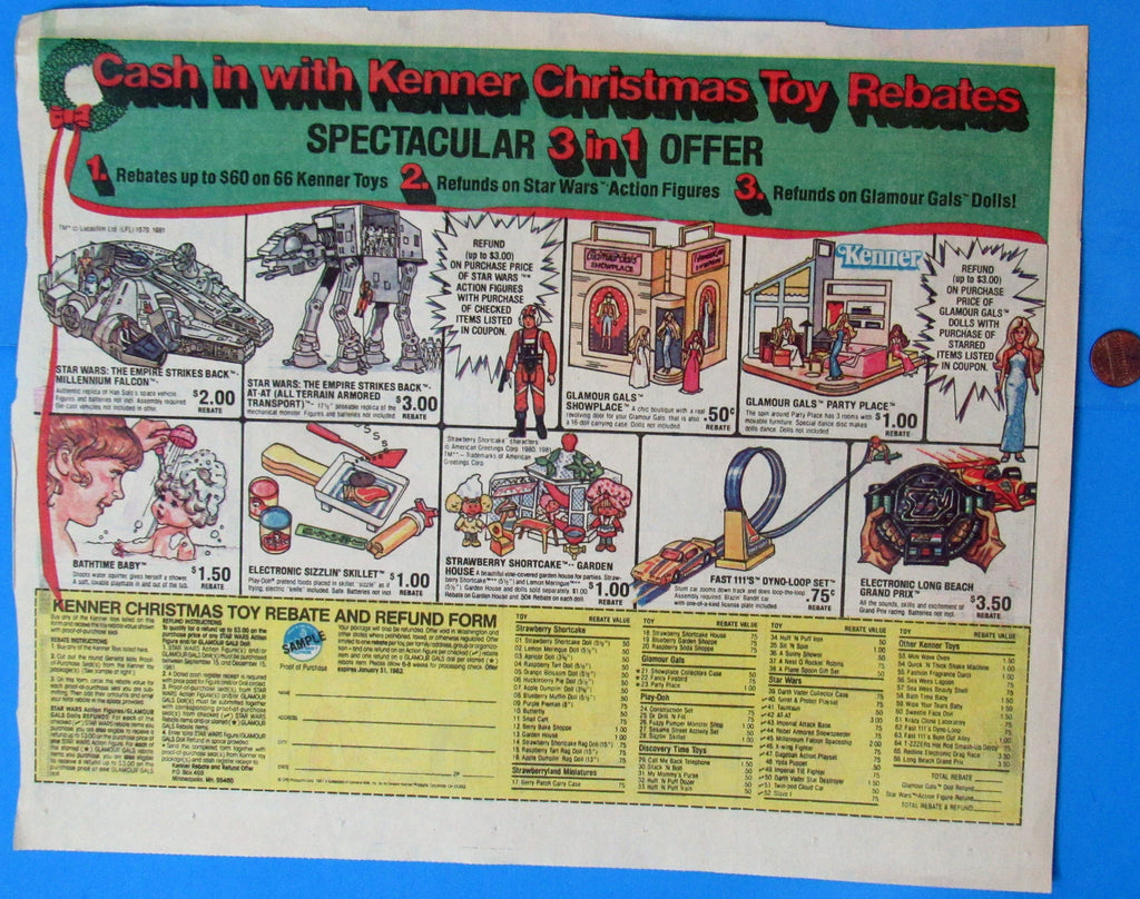 ADVERTISEMENT Kenner Christmas Toy Rebates '81 vintage Star Wars
