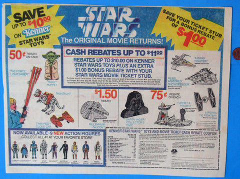 ADVERTISEMENT Kenner Theater Tickets Toy Rebates '81 vintage Star Wars