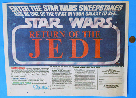 ADVERTISEMENT Kenner ROTJ Sweepstakes '83 vintage Star Wars