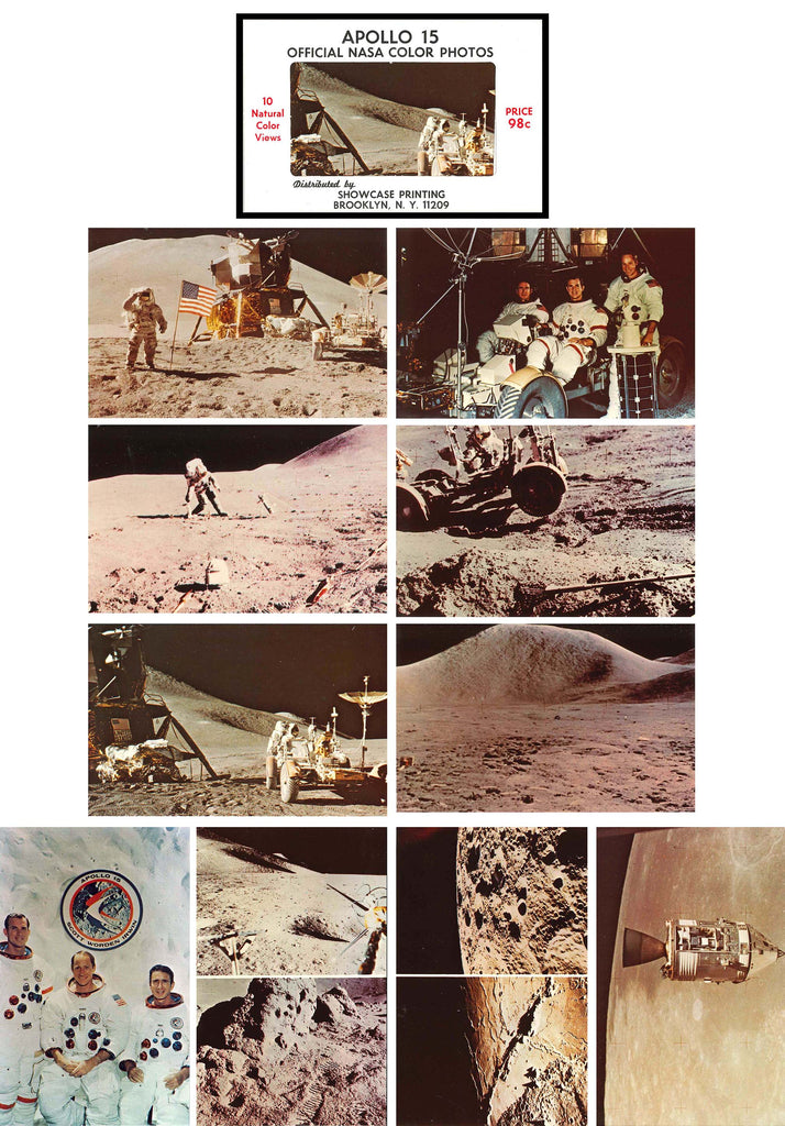 Apollo 15 vintage postcard photos NASA