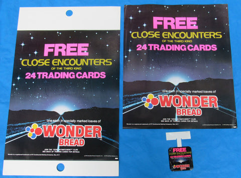 Wonder Bread store display poster lot, Close Encounters of the Third Kind trading cards