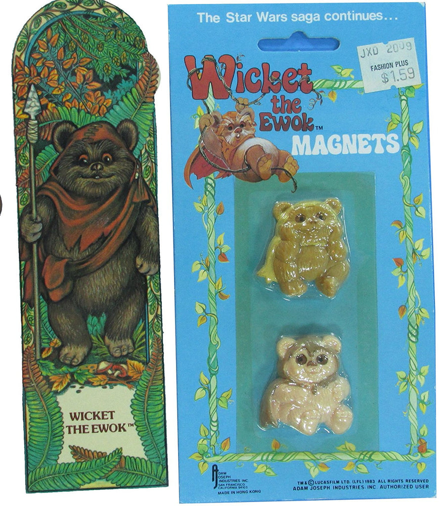 Ewok Magnets and Wicket Bookmark - 1983 vintage Star Wars