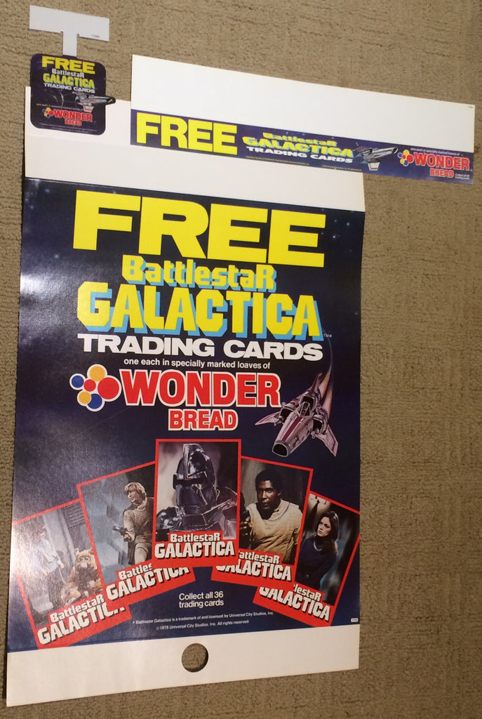 Wonder Bread 1978 store display poster lot, Battlestar Galactica trading cards