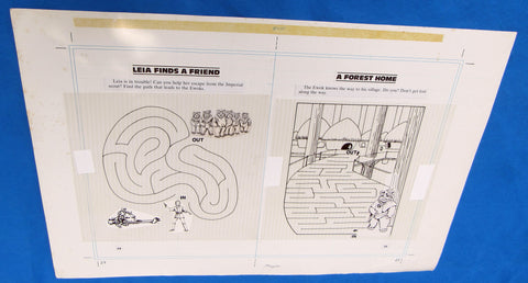 Original Artwork Layout - '83 Happy House - Leia Finds a Friend - Star Wars Return of the Jedi