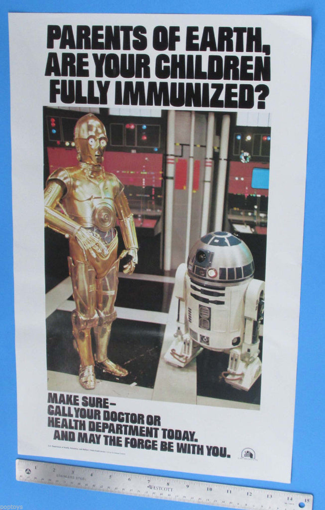 POSTER '77 vtg Immunization C-3PO R2-D2 Star Wars - 14x22 in
