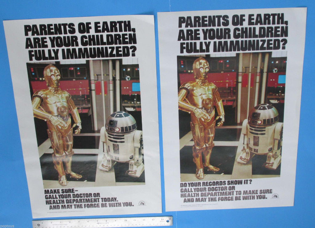 POSTER PAIR '77 '79 vtg Immunization C-3PO R2-D2 Star Wars - 14x22 in