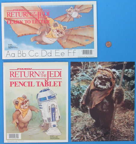 Ewok Letter and Write and R2-D2 / Wicket Pad & Fan Club photo - 1983 vintage Star Wars