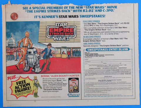 ADVERTISEMENT Kenner ESB Sweepstakes '80 vintage Star Wars