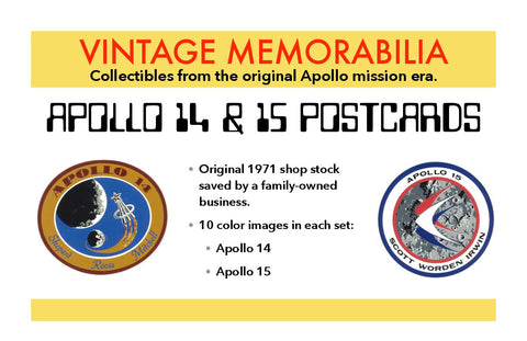 Apollo 14 Apollo 15 NASA Postcards Vintage