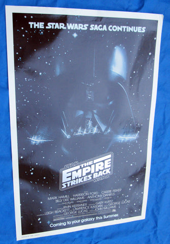 Empire Strikes Back Advance Darth Vader one sheet movie poster, Lucasfilm Employee collection Star Wars