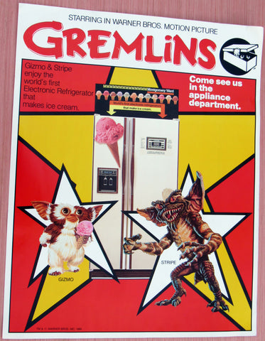 GREMLINS - Store Display Poster - 21.5 x 28 inches - 1984 Vintage Montgomery Ward Appliance Promotion