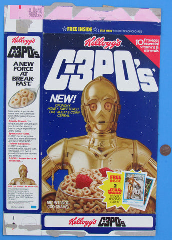 Cereal Box 13 oz C-3POs '84 - Kellogg's - Trading Card Promotion #2
