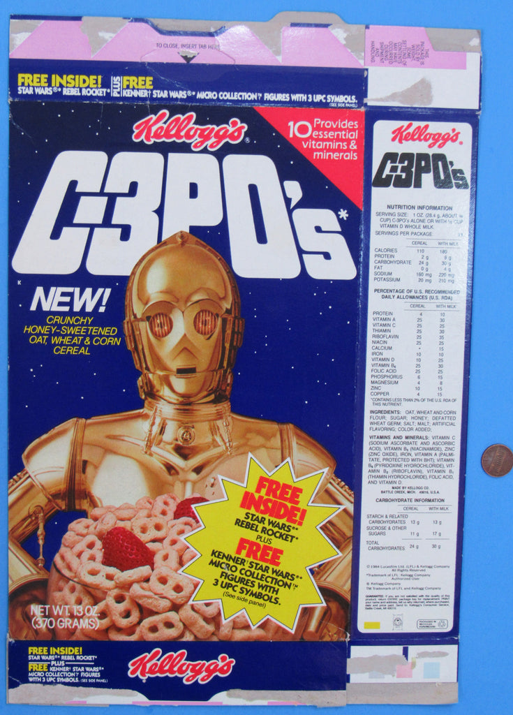Cereal Box 13 oz C-3POs '84 - Kellogg's - Rebel Rocket - Kenner Micro Collection Offers