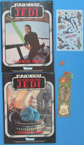 Coloring Books by Kenner - Yoda Bookmark - Presto Magix from 1983 - Luke Skywalker / Max Rebo Band Star Wars