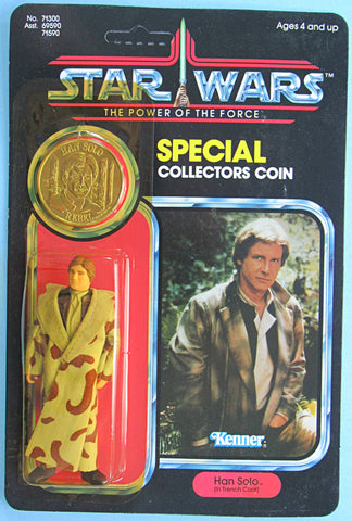 Star Wars vintage Kenner action figure MOC - Han Solo (Trench Coat) Power of the Force