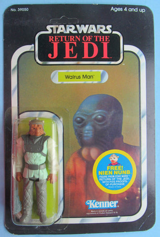 PROTOTYPE Engineering Pilot NIKTO on Walrus Man Card - Star Wars vintage Kenner action figure MOC