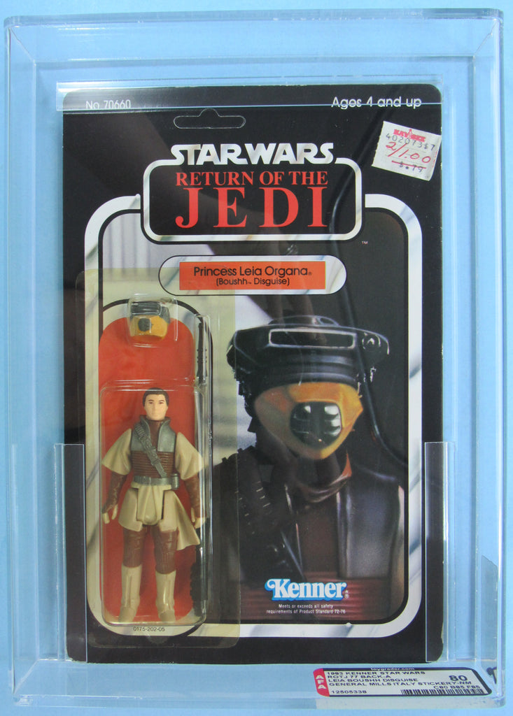 Princess Leia (Boushh Disguise) 77-back ITALIAN Sticker - MOC AFA 80 - Kellerman Star Wars Kenner Collection